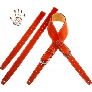 Tracolla per chitarra e basso in pelle Twin Buckle TS Core Arancio 7 cm