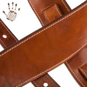 Tracolla per chitarra e basso in pelle Holes HS Stone Washed Marrone 8 cm