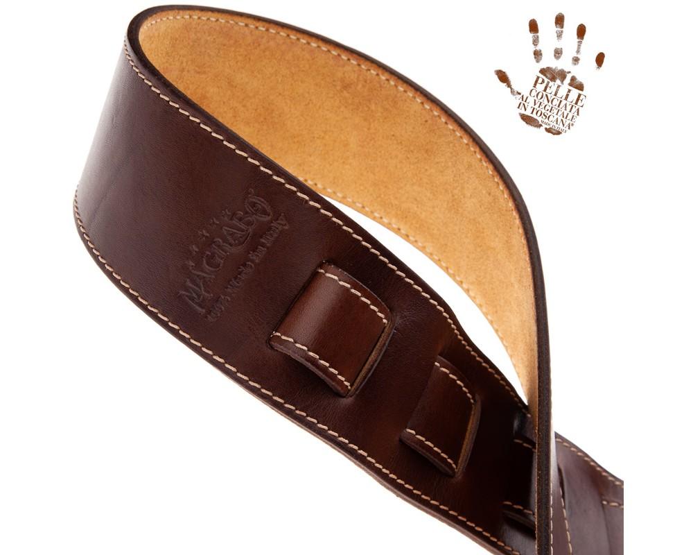 Tracolla per chitarra e basso in pelle Holes HS Stone Washed Mogano 6 cm