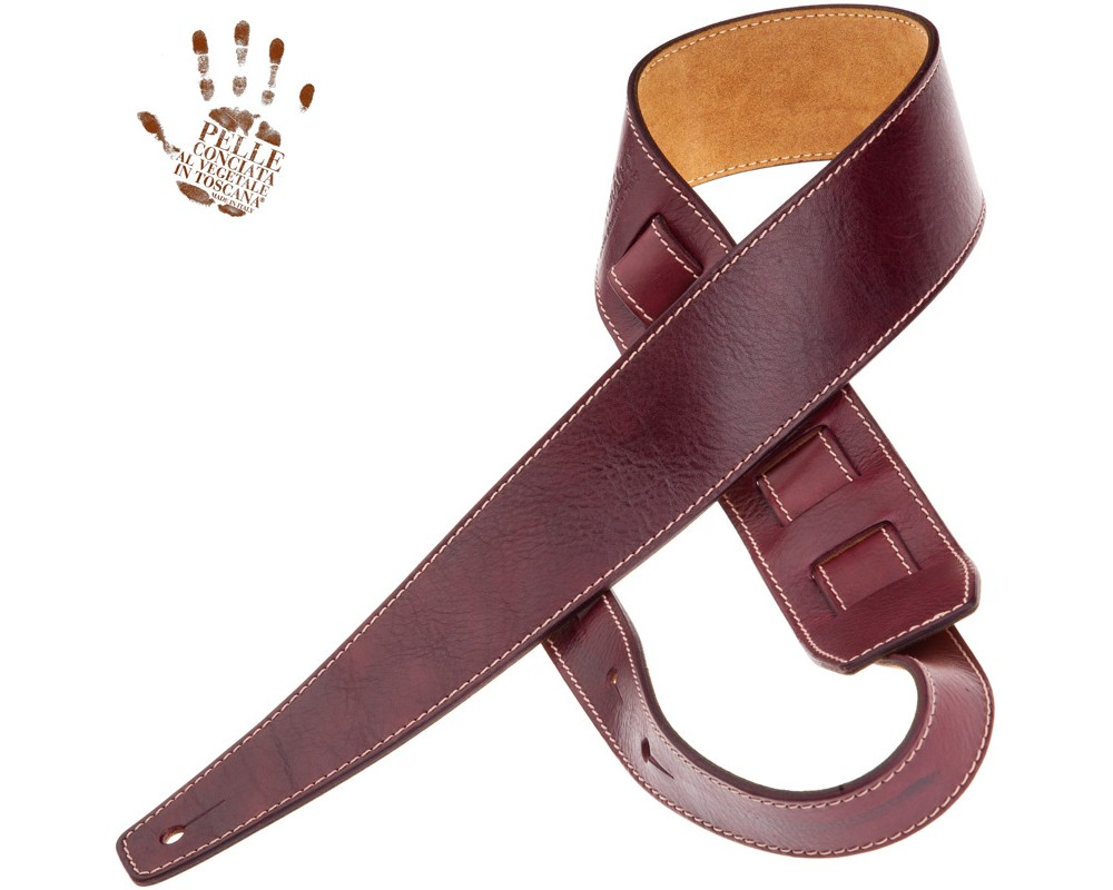 Tracolla per chitarra e basso in pelle Holes HS Stone Washed Bordeaux 6 cm