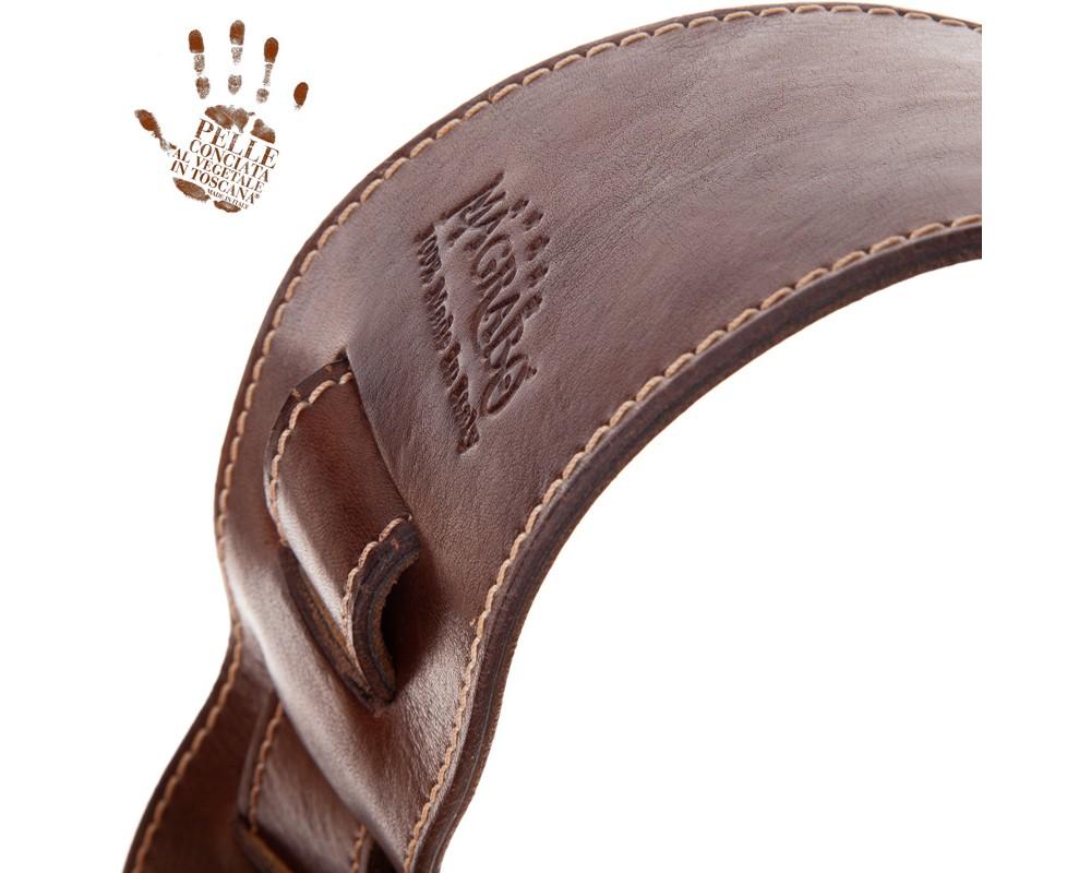 Tracolla per chitarra e basso in pelle Holes HS Stone Washed Mogano 8 cm