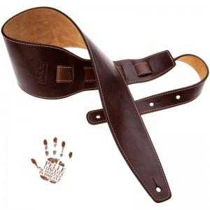 Tracolla per chitarra e basso in pelle Holes HS Stone Washed Mogano 10 cm