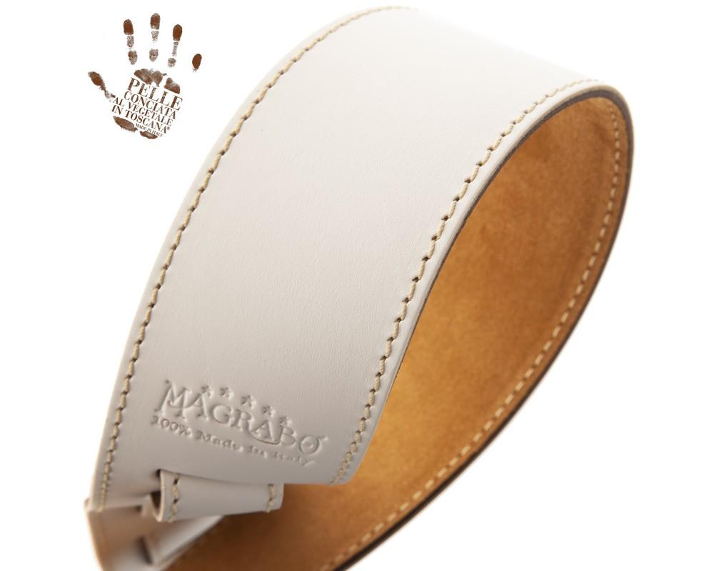Tracolla per chitarra e basso in pelle Holes HS Core Bianco 6 cm