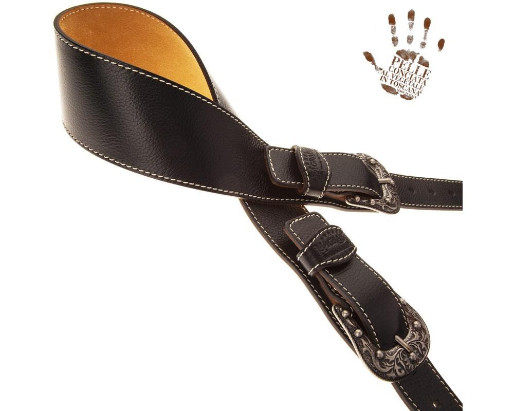 Tracolla per chitarra e basso in pelle Twin Buckle TS Core Nero 7 cm